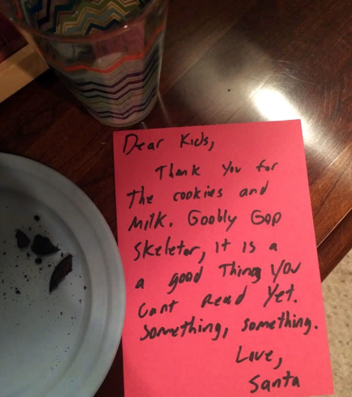 Dad Pretends To Be Santa By Leaving A Note For His Kids